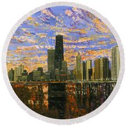 Chicago Round Beach Towel by Mike Rabe