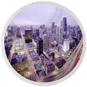 Chicago Night Round Beach Towel by Jon Neidert