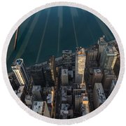 Chicago Shadows Round Beach Towel by Steve Gadomski