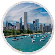 Chicago Skyline Daytime Panoramic Round Beach Towel by Adam Romanowicz