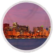 Chicago Skyline At Dusk 2008 Panorama Round Beach Towel by Jon Holiday