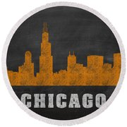 Chicago Skyline Chalkboard Chalk Art Round Beach Towel by Design Turnpike