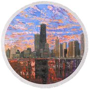 Chicago Skyline - Lake Michigan Round Beach Towel by Mike Rabe