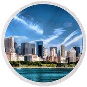 Chicago Skyline Panorama Round Beach Towel by Christopher Arndt
