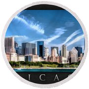 Chicago Skyline Panorama Poster Round Beach Towel by Christopher Arndt