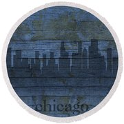Chicago Skyline Silhouette Distressed On Worn Peeling Wood Round Beach Towel by Design Turnpike