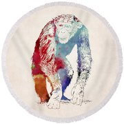 Chimpanzee Drawing - Design Round Beach Towel by World Art Prints And Designs