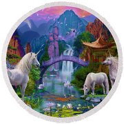 Chinese Unicorns Round Beach Towel by Jan Patrik Krasny