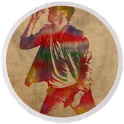 Chris Martin Coldplay Watercolor Portrait On Worn Distressed Canvas Round Beach Towel by Design Turnpike