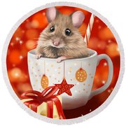 Christmas Cup Round Beach Towel by Veronica Minozzi