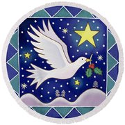 Christmas Dove  Round Beach Towel by Cathy Baxter
