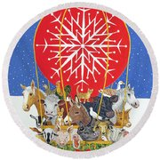 Christmas Journey Oil On Canvas Round Beach Towel by Pat Scott