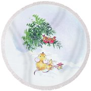 Christmas Mice And Robins Round Beach Towel by Diane Matthes