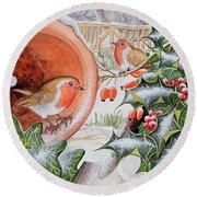 Christmas Robins Round Beach Towel by Tony Todd