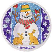 Christmas Snowflakes Round Beach Towel by Cathy Baxter
