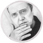 Christopher Walken Round Beach Towel by Olga Shvartsur