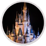 Cinderella's Castle In Magic Kingdom Round Beach Towel by Adam Romanowicz