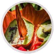 Citrus Butterfly Round Beach Towel by Karen Wiles