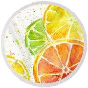 Citrus Fruit Watercolor Round Beach Towel by Olga Shvartsur