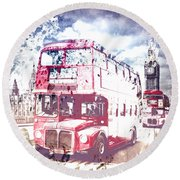 City-art London Red Buses On Westminster Bridge Round Beach Towel by Melanie Viola