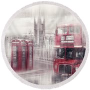 City-art London Westminster Collage II Round Beach Towel by Melanie Viola