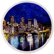 City Of Pittsburgh At The Point Round Beach Towel by Christopher Shellhammer