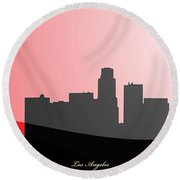 Cityscapes- Los Angeles Skyline In Black On Red Round Beach Towel by Serge Averbukh