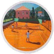 Clay Court Tennis Round Beach Towel by Andrew Macara