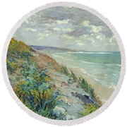 Cliffs By The Sea At Trouville  Round Beach Towel by Gustave Caillebotte