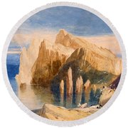 Cliffs On The North East Side Of Point Round Beach Towel by John Sell Cotman