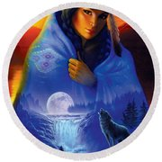 Cloak Of Visions Portrait Round Beach Towel by Andrew Farley