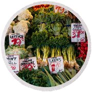 Close-up Of Pike Place Market, Seattle Round Beach Towel by Panoramic Images