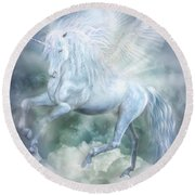 Unicorn Cloud Dancer Round Beach Towel by Carol Cavalaris