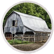 Clubhouse Road Barn Round Beach Towel by Cricket Hackmann