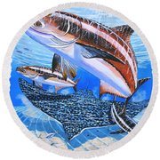 Cobia On Rays Round Beach Towel by Carey Chen