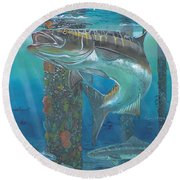 Cobia Strike In0024 Round Beach Towel by Carey Chen