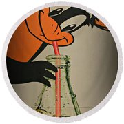 Coca Cola Orioles Sign Round Beach Towel by Stephen Stookey