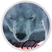 Coca Cola Polar Bear Round Beach Towel by Dan Sproul