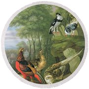 Cock Pheasant Hen Pheasant And Chicks And Other Birds In A Classical Landscape Round Beach Towel by Pieter Casteels