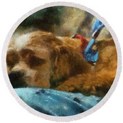 Cocker Spaniel Photo Art 07 Round Beach Towel by Thomas Woolworth