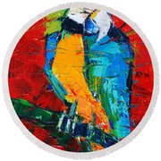 Coco The Talkative Parrot Round Beach Towel by Mona Edulesco