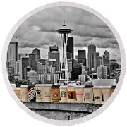 Coffee Capital Round Beach Towel by Benjamin Yeager