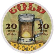 Cold Beer Round Beach Towel by Debbie DeWitt
