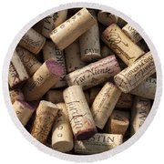 Collection Of Fine Wine Corks Round Beach Towel by Adam Romanowicz