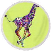 Colorful Baby Giraffe Round Beach Towel by Jane Schnetlage