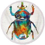 Colorful Beetle Art - Scarab Beauty - By Sharon Cummings Round Beach Towel by Sharon Cummings