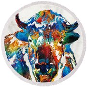 Colorful Buffalo Art - Sacred - By Sharon Cummings Round Beach Towel by Sharon Cummings