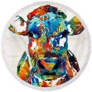 Colorful Cow Art - Mootown - By Sharon Cummings Round Beach Towel by Sharon Cummings