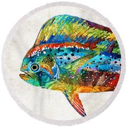 Colorful Dolphin Fish By Sharon Cummings Round Beach Towel by Sharon Cummings