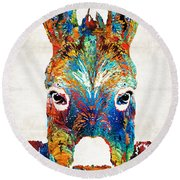 Colorful Donkey Art - Mr. Personality - By Sharon Cummings Round Beach Towel by Sharon Cummings